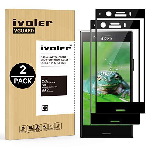 ivoler [Pack de 2] Verre Trempé pour Sony Xperia XZ1 Compact, [Couverture Complète] Film Protection en Verre trempé écran Protecteur Vitre (Noir)