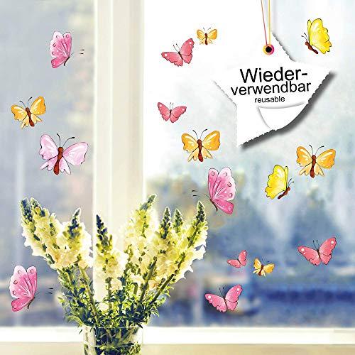 Fensterbild FrühlingSchmetterlinge pastell wiederverwendbare Fensteraufkleber Ostern Wiese Blumen bunt