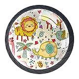 Tiradores de cristal para cajones Animales Lindos León Pomo redondo para cajón, pomo negro para armario de cocina armario de baño, Mueble pomo para puerta (juego de 4) 3.5x2.8cm