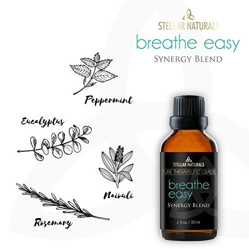 Breathe Easy Essential Oil Blend - Pure Therapeutic Grade for Respiratory Allergy, Sinus Relief, Cold, Headache, Congestion - 100% Natural - 1oz/30ml