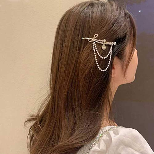 JJZXD The New Dual Purpose Rhinestone Bow Tie Word Clip Tassel Bangs Clip Fairy Side Hairpin Brooch Duckbill Clip
