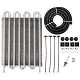8 Row Automotive Cool Tube and Fin Transmission Cooler, Universal 5/16' Oil Cooler Kit, Auto-Manual Radiator Converter