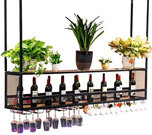 Botellero de pared con soporte de madera y metal para colgar en el techo, soporte para botellas de vino, soporte para cocina, soporte para copas de vino suspendidas (negro) (tamaño: