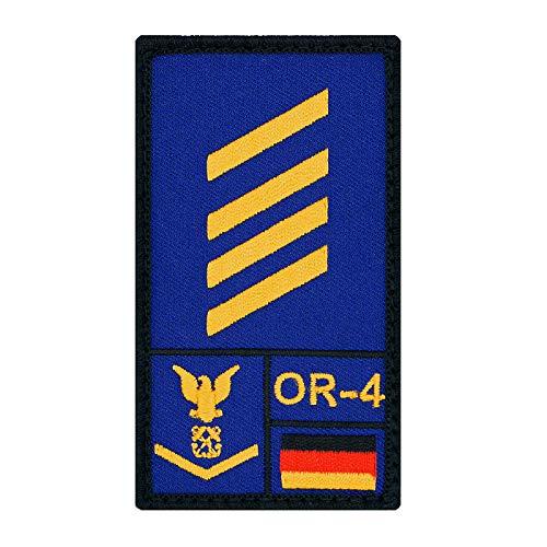 Café Viereck ® Stabsgefreiter Marine Bundeswehr Rank Patch mit Dienstgrad - Gestickt mit Klett – 9,8 cm x 5,6 cm (blau)