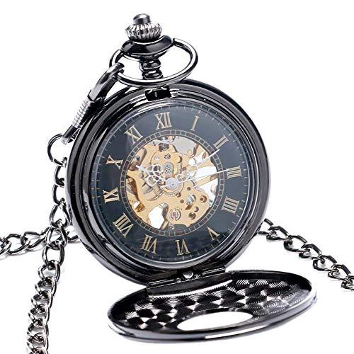 J-Love Reloj de Bolsillo mecánico de Metal Negro de Lujo Vintage Relojes Steampunk Pin Hombres Mujeres Reloj Colgante Regalo