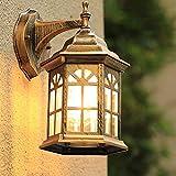 Lyghtzy Luces Exterior de Castillo de Diseño Rústico Clásico, Aplique Pared Exterior de Aluminio para Dormitorio, Terraza, Patio, Iluminación de Jardin, IP65, E27 (Latón antiguo)