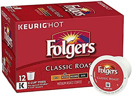 Folgers Classic Medium Roast Coffee, K-Cup Pods for Keurig K-Cup Brewers