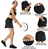 Ibeauti Womens Back Pleated Athletic Tennis Golf Skorts Skirts with 3 Pockets Mesh Shorts for Running Active Workout (Black, Medium)