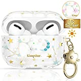 KINGXBAR UV Sensor Unique AirPods Pro Case Cover Full Protective TPU Frame Bling Crystal from Swarovski Floral Clear Hard PC Cover with Keychain for Apple AirPods Pro Cute Starry Sky Fashion Design