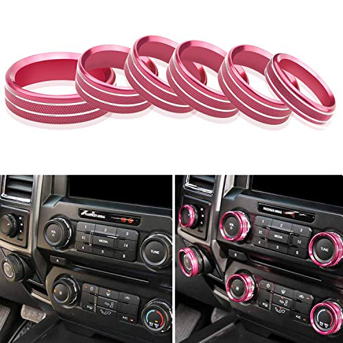Air Conditioner Switch AC Volume Audio Tune Trailer Knob Ring Button Cover Trim Compatible with Ford F150 XLT Accessories 2016-2018/ Mustang 2015 2016 (6 PCS)