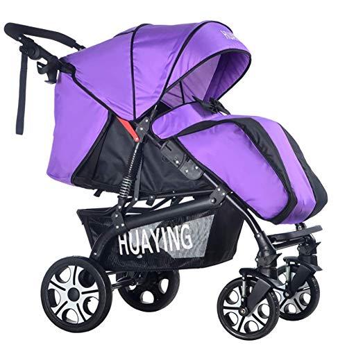 Huckyi Kinderwagen mit Babyschale - Leichter Sportwagen mit Liegeposition, Kinderbuggy bis max. 15 kg, Reisebuggy, Kinderwagen klein zusammenklappbar, Kinderwagen mit Sportsitz,Purple