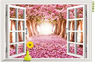 Cherry Tree 3d Fake Windows Living Room Bedroom Wall Stickers Removable [9234]