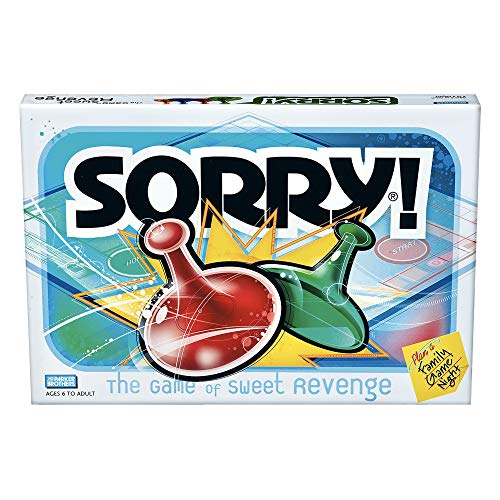 Sorry! Board Game for Kids Ages 6 and Up; Classic Hasbro Board Game; Each Player Gets 4 Pawns (Pawn Colors May Vary) – Amazon Exclusive