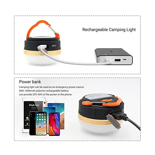 Camping Lights, Tent Lights with Carabiner Clips- Waterproof Tent LED Light Portable Camping Emergency Light Lamp…