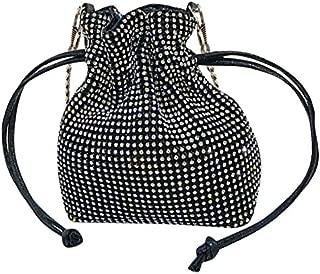 TOOGOO Fashion Diamond Small Bucket Bag Shoulder Bag Bag Women Handbags Ladies Wedding Party Bag Purse Black