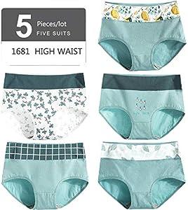 Primer Anillo 5pcs/Set Impreso Mujeres Bragas De Cintura Alta Ropa Interior De Algodón Puro Lindo Sin Costura Escritos