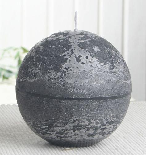 Rustik-Kugelkerze, 10 cm Ø, anthrazit-schwarz