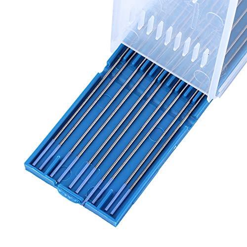 Electrodos lantanados, electrodos de soldadura, 10 electrodos de tungsteno azul, 1,8 a 2,2% WL20 para la industria con caja(1.0 * 150mm)