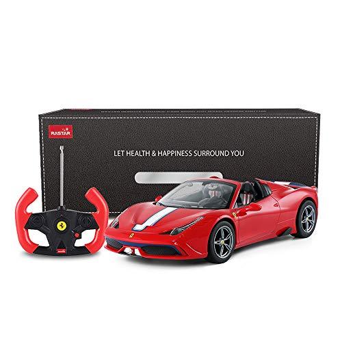 Rastar Ferrari ferngesteuertes Auto, 1:14 Ferrari 458, Special A, rotes Spielzeugauto – Cabrio, automatisches Öffnen / Schließen