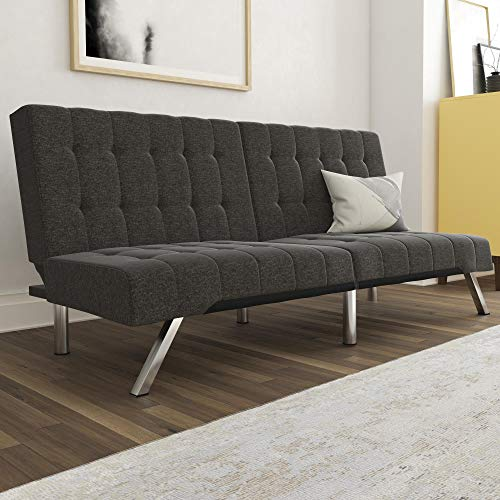 DHP Emily Futon With Chrome Legs, Grey Linen