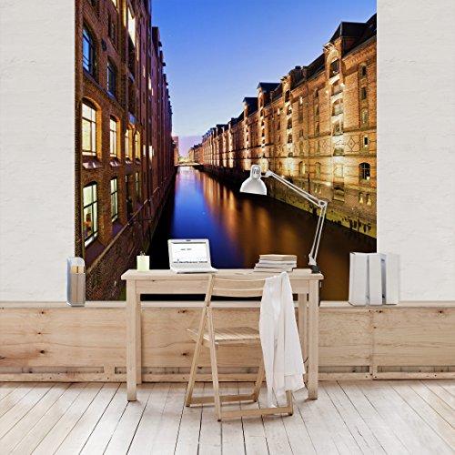 Apalis Vliestapete Hamburg Speicherstadt Fototapete Quadrat | Vlies Tapete Wandtapete Wandbild Foto 3D Fototapete für Schlafzimmer Wohnzimmer Küche | Größe: 288x288 cm, mehrfarbig, 104864