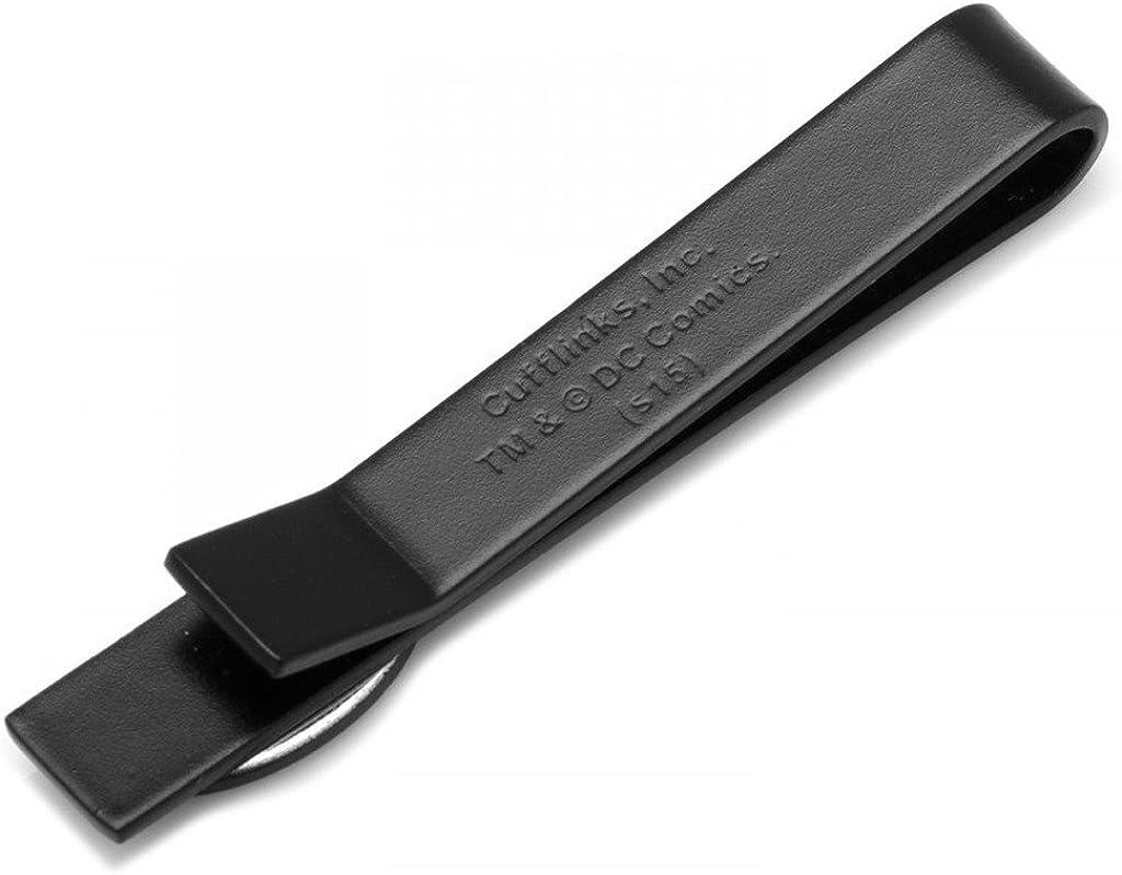 Cufflink Aficionado Satin Black Oval Batman Logo Tie Bar