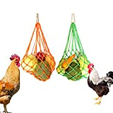 CooShou Chicken Vegetable String Bag Poultry Fruit Holder Chicken Cabbage Feeder Treat Feeding Tool with Hook for Hens Chicken Coop Toy for Hen Goose Duck