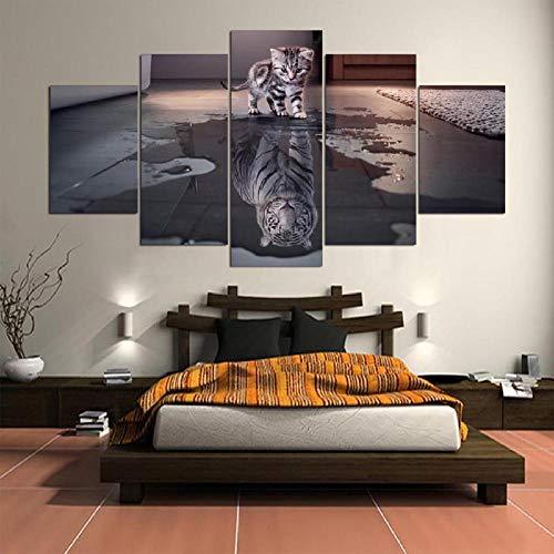 Afdrukken Op Canvas Afbeeldingen In Hd Gedrukt Home Wanddecoratie Schilderij Ambachtelijke Schilderij Kat Tijger Dier Canvas Schilderij(Frameloos)