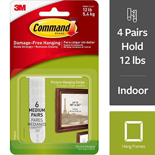 Command Picture Hanging Strips, Indoor Use, Holds 12 lbs (17204ES),White,6 Pairs