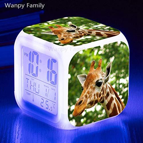 Zhuhuimin Giraffe wekker met grote led-kalender met 7 kleuren verlicht display en digitaal multifunctioneel horloge, aanraakgevoelig met thermometer