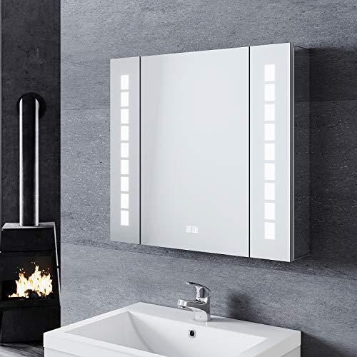 SONNI Spiegelschrank Bad 60 × 65cm beschlagfrei mit Steckdose Kabelloses Scharnier Design LED Spiegelschrank mit Touch LED Spiegelschrank Aluminium
