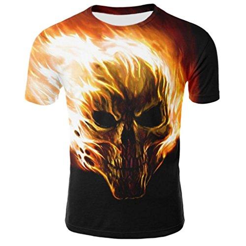 Camiseta para Hombre, Camisa de Manga Corta de la Camiseta de la Manga de la Camiseta de la impresión del cráneo 3D para Hombre (L)