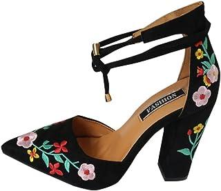563f55f3 PAOLIAN Zapatos de Tacón Ancho Altas para Mujer Verano Chinoiserie 2018 Moda  Bar Clásicos Club Zapatos