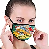 Back to School Season Bus Fashion Sunproof Comfortable Face Mask Adjustable Pattern Facial...