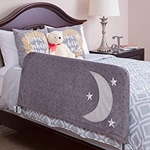 Bed Rail for Toddlers – Includes Beautiful Cover with Inside Pocket – Folds Down, Safety Side Guard Rail for Kids – Extra Long 54″ Gray – Fits Twin, Double, Full Size, Queen & King by Cosie Covers