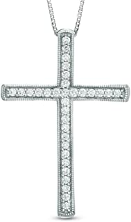 1/2 Cttw Diamond Round Shape Cross Pendant in 925 Sterling Silver 18
