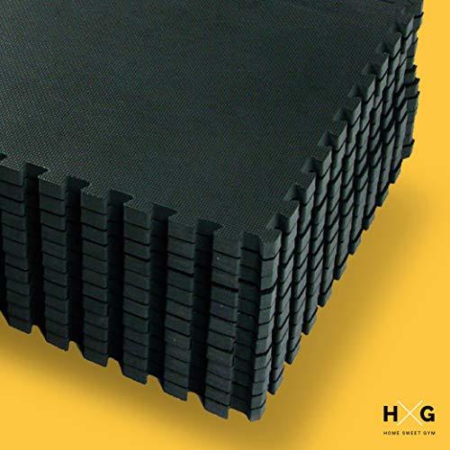 JOWY Esterilla de Espuma Fitness Suave. Tatami Puzzle Negro 30x30cm. Máxima protección para tu Suelo. Fácil Limpieza y con Bordes incluidos. (Negro, 32 pcs (2.88m2))