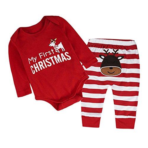dailymall 2 Piezas Navidad Nuevos Bebés Niños Niñas Mi Primer Traje de Reno Navideño 1-3 años - rojo, 80