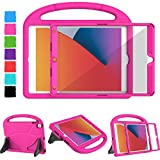 TIRIN Kids Case for iPad 8th/ 7th Generation, New iPad 10.2 2020 2019 Case with Built-in Screen Protector, Shockproof Lightweight Handle Stand Case for iPad 10.2 inch 2020 8th/ 7th Gen 2019 - Rose