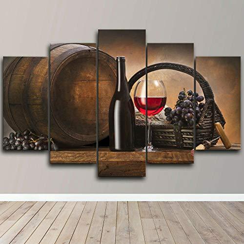 UOBSLBI Cuadro sobre Lienzo - 5 Piezas Botella De Vino Murales Pared Hogar Arte Pared HD Impresión Foto 150X80Cm Regalo