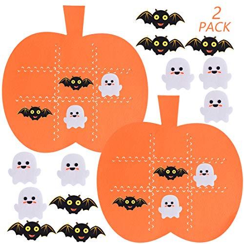 Max Fun 2 Pack Halloween Felt Tic Tac Toe Game Set, Pumpkin Board Game for Kids Halloween Play Mat Set Festive Harvest Party Decoration Supplies (12pcs Bats & 12pcs Ghosts)