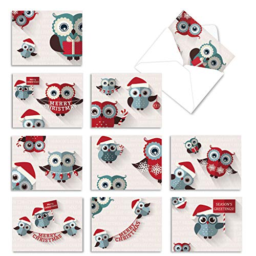 The Best Card Company - 10 Holiday Note Cards for Christmas - Festive Bulk Assortment, Boxed Notecards with Envelopes (4 x 5.12 Inch) - Happy Owlidays M2947