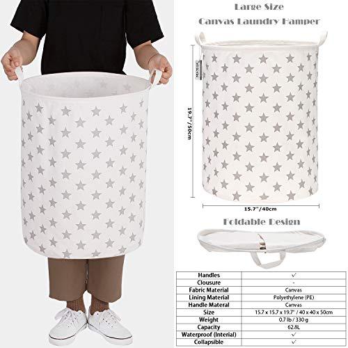 Sea Team 19.7 inch Large Sized Waterproof Coating Ramie Cotton Fabric Folding Laundry...