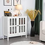 YAHEETECH Floor Storage Cabinet with Glass Door and Storage Shelf, Wooden Console Table Display Storage Organizer Sideboard Buffet for Kitchen/Dining Room/Entryway/Bathroom, Accent Furniture White