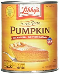 "100 % Pure Pumpkin Excellent Source of Vitamin A and a Good Source of Fiber All Natural - No Preservatives For two 9"" pies (each can)"