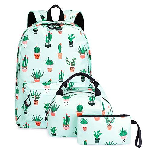Mochila para Niños de La Escuela, Conjunto de 3 Piezas de Mochila Escolar para niña, Mochila de Viaje para niña Impermeable y Sin Decoloración (Cactus)