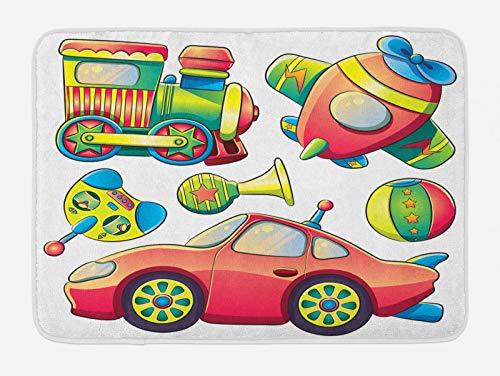 ABAKUHAUS Dibujos Animados Tapete para Baño, Bolas de neumático Auto, Decorativo de Felpa Estampada con Dorso Antideslizante, 45 cm x 75 cm, Multicolor