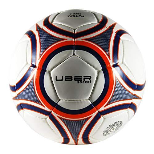 Uber Soccer Regulation Size and Weight Indoor Futsal Soccer Ball (Navy Orange Glossy, 3)