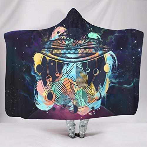 Dofeely NASA PersonalityHome Hooded Blanket Hypoallergen Microfaser Decken Computer Fleecedecke Für Erwachsene Und Kinder White 150x200cm