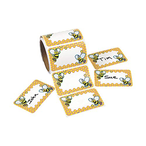 Fun Express Bumble Bee Name Tags (100Ct) - 1 Piece - Educational and Learning Activities for Kids